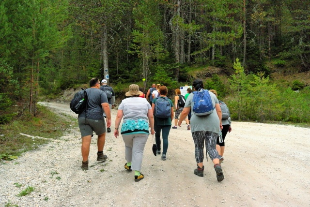 The participants on a mountain hike